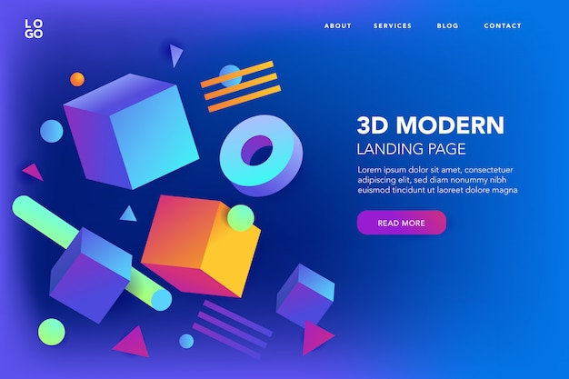 Abstract 3d shapes background of landing page