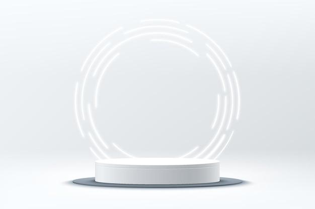 円形に輝くネオン照明を背景にした抽象的な3dシルバーシリンダー台座または表彰台