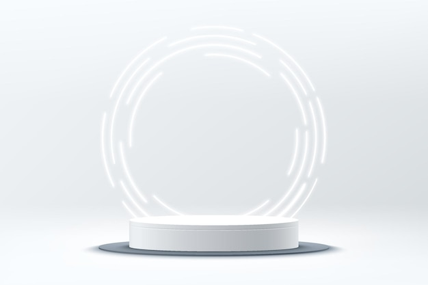 Abstract 3d silver cylinder pedestal or podium with circle glowing neon lighting backdrop