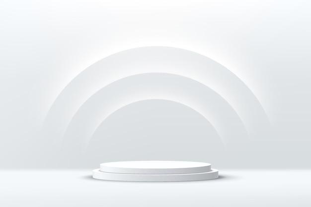 半円の輝くネオン照明の背景を持つ抽象的な3dシルバーシリンダー台座表彰台