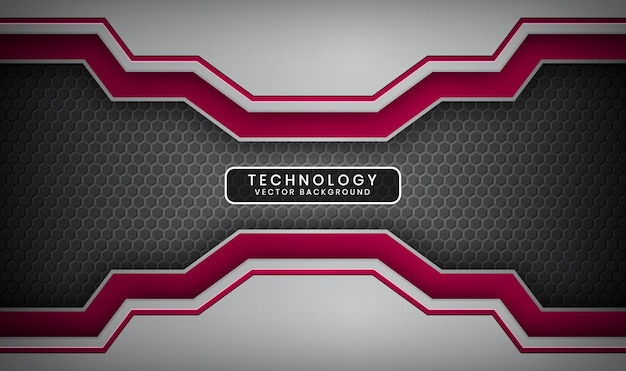 Abstract 3d silver and red technology background with overlap layer and metallic hexagons