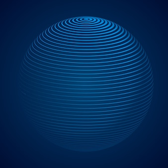Abstract 3d sphere with stripes, lines. vector illustration.