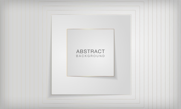エレガントな金色の線で抽象的な3d正方形のペーパーカットレイヤー白い背景
