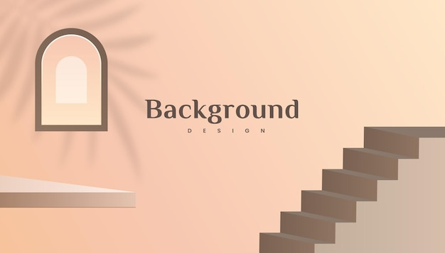 Abstract 3d stairs and window brown gold gradient luxury background design.