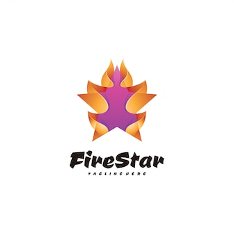 Abstract 3d star and fire flame logo