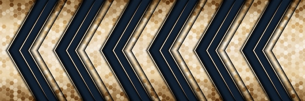 Abstract 3d style luxury gold background with dark blue metal texture