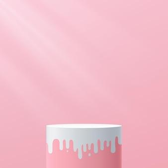 抽象的な3d甘いピンクと白のシリンダー台座表彰台モダンな流体形状プラットフォーム