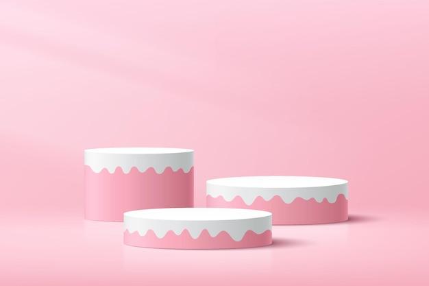 明るいピンクの最小限の壁のシーンで抽象的な3d甘いピンクと白のシリンダー台座表彰台