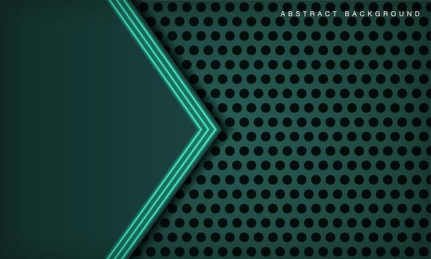 緑色の光の効果の装飾と円のテクスチャ上の抽象的な3d技術の背景のオーバーラップレイヤー