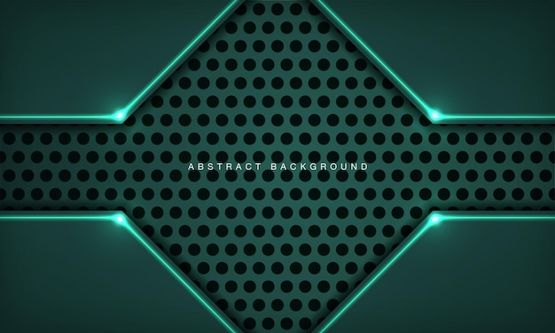 녹색 조명 효과 장식이 있는 원 텍스처의 추상 3d 기술 배경 겹침 레이어