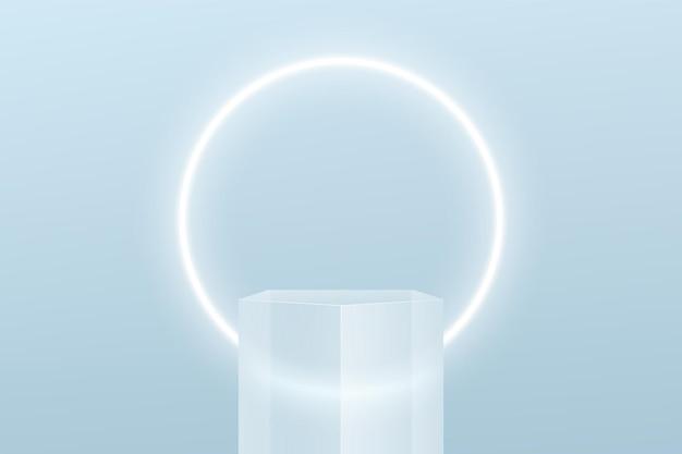 抽象的な3d透明ガラス五角形台座表彰台ミニマルブルーシーンとネオンサークル形状