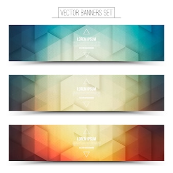 Abstract 3d vector bright colored web banners set