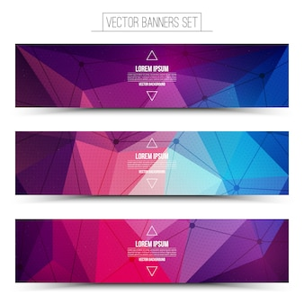 Abstract 3d vector digital technology web banners set