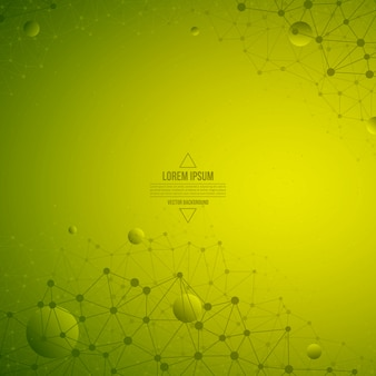 Abstract 3d vector technology green background. wireframe structure
