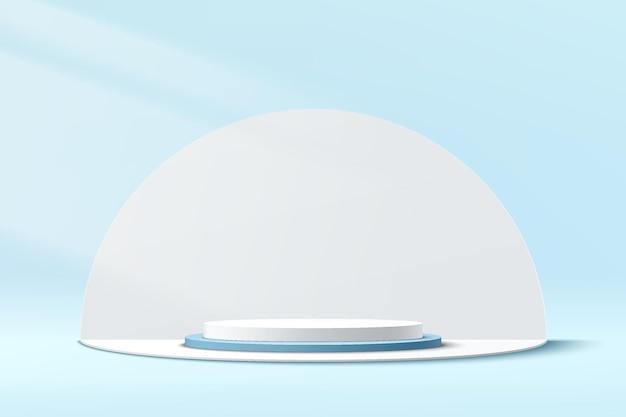 Абстрактный 3d бело-синий подиум пьедестала цилиндра с белым фоном формы полукруга