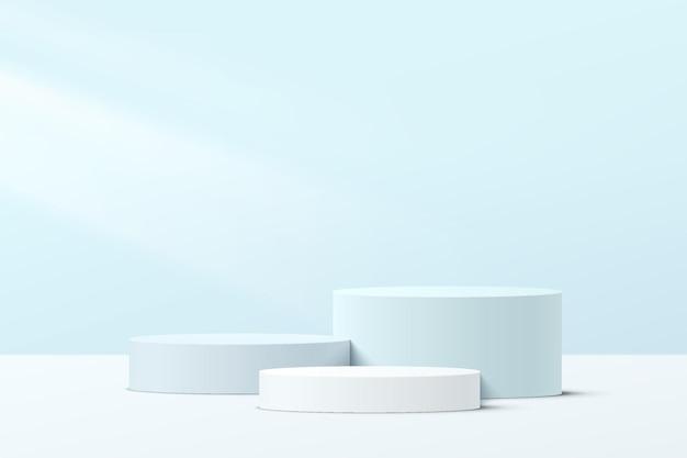 파스텔 블루 최소 벽 장면이 있는 추상 3d 흰색 및 파란색 단계 실린더 받침대