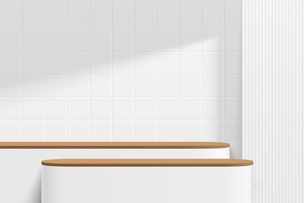 Абстрактный 3d белый и коричневый деревянный круглый пьедестал подиум или стол с белой квадратной плиткой на стене