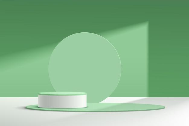 Абстрактный 3d белый и зеленый цилиндр пьедестал подиум с кругом на фоне пастельных зеленых стен сцены