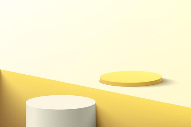밝은 노란색 바닥과 사각형 홈에 있는 추상 3d 흰색 및 노란색 실린더 받침대