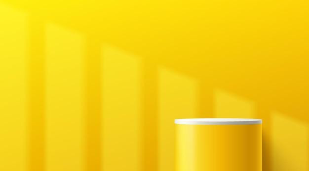 그림자에 노란색 벽 장면이 있는 추상 3d 흰색 및 노란색 실린더 받침대 연단