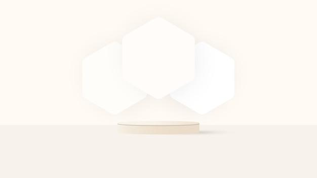 パステルイエローの最小限の壁のシーンで抽象的な3d白と黄色のステップシリンダー台座表彰台