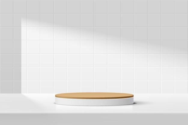 흰색 사각형 타일 벽 장면이 있는 테이블에 있는 추상 3d 흰색 갈색 실린더 받침대