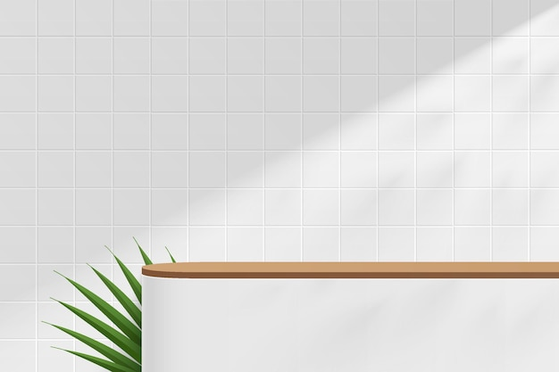 사각형 타일 벽 장면에 녹색 잎이 있는 추상 3d 흰색 갈색 원형 받침대 또는 테이블
