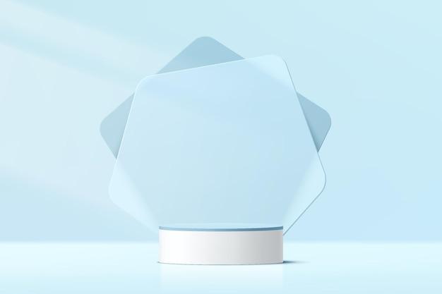Абстрактный 3d белый цилиндр пьедестал или подиум с синим стеклянным фоном геометрической формы и освещением