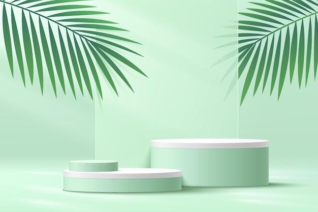 녹색 야자수 잎이 있는 추상 3d 흰색 실린더 받침대 연단 연한 녹색 빈 플랫폼