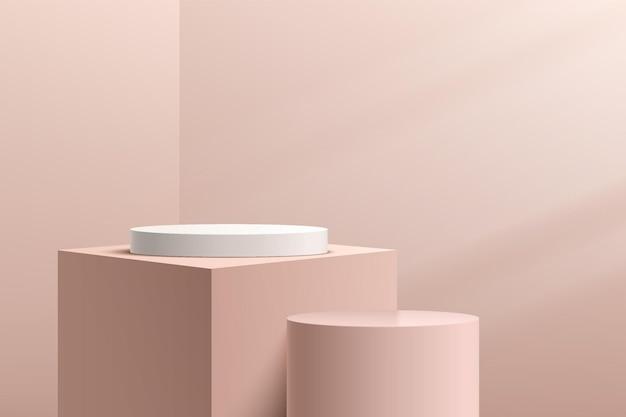 Abstract 3d white cylinder pedestal podium with beige geometric cube platform light brown scene