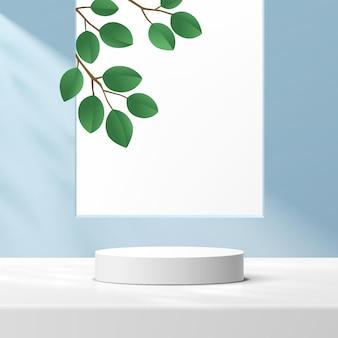 밝은 파란색 벽 장면의 사각형 창에 녹색 잎이 있는 추상 3d 흰색 실린더 받침대