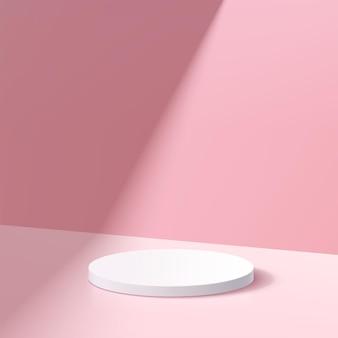 パステルピンク色の最小限の壁のシーンと影と抽象的な3d白いシリンダー台座表彰台