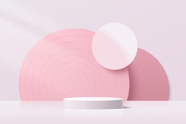 분홍색 벽 장면과 반원 배경이 있는 추상 3d 흰색 실린더 받침대 연단