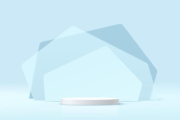 Абстрактный 3d белый цилиндр пьедестал подиум с прозрачным синим стеклом геометрические слои фоном