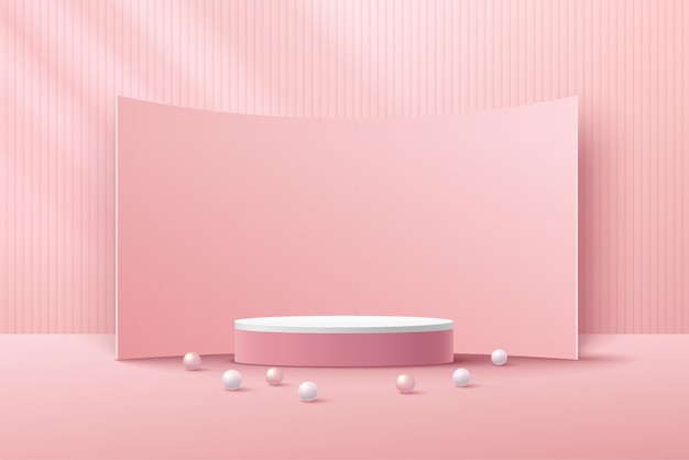 Abstract 3d white cylinder pedestal podium with vertical stripes pattern and curve backdrop
