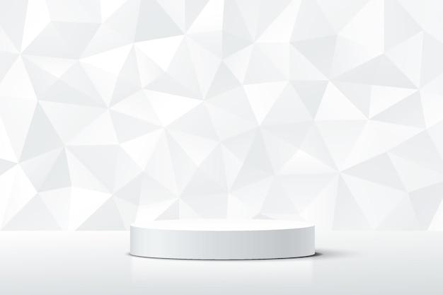 흰색과 회색 다이아몬드 질감 벽 장면이 있는 추상 3d 흰색 실린더 받침대 연단
