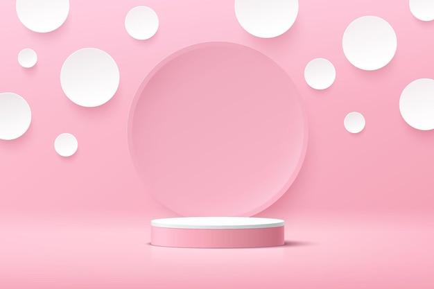 白い水玉模様の背景とピンクの円の背景を持つ抽象的な3d白いシリンダー台座表彰台