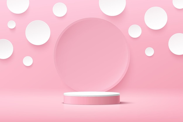 Abstract 3d white cylinder pedestal podium with white polka dot background and pink circle backdrop