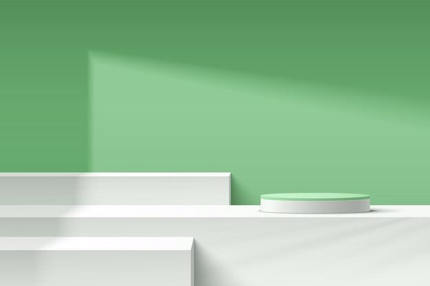 그림자에 파스텔 녹색 최소 벽 장면이 있는 추상 3d 흰색 기하학적 받침대 또는 연단