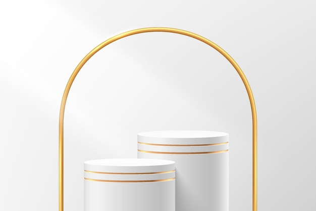 Abstract 3d white and gold cylinder pedestal or stand podium with luxury golden arches backdrop