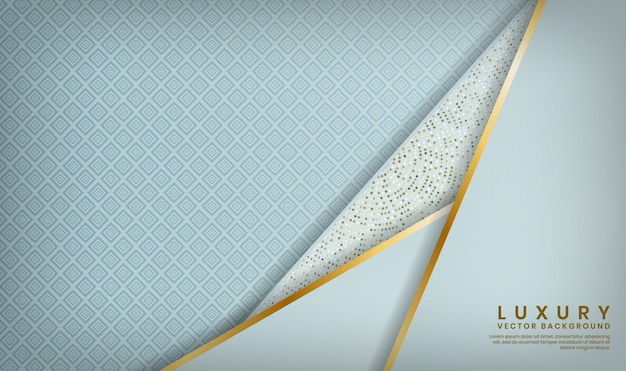 Abstract 3d white luxury overlap layer with golden lines and glitters dots decoration