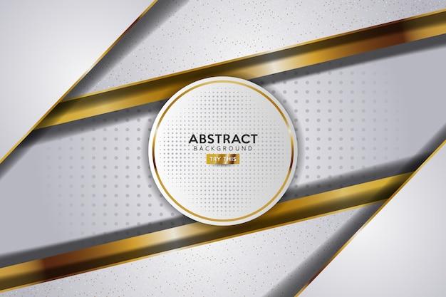 Абстрактная 3d белая роскошь с комбинацией точек и золотой линией