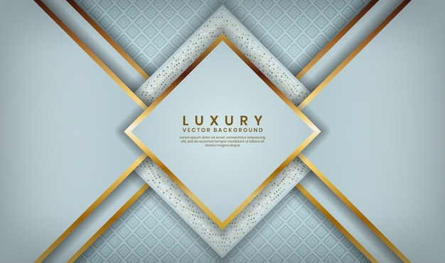 Abstract 3d white rhomb luxury overlap layer with golden lines and glitters dots decoration