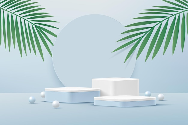Abstract 3d white round corner pedestal podium  with green palm leaf blue and white sphere