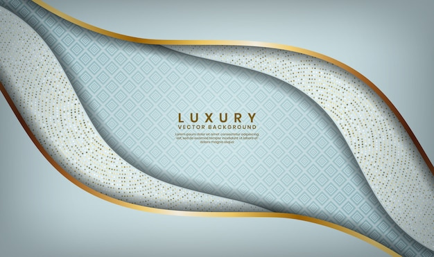Abstract 3d white waves luxury overlap layer with golden lines and glitters dots decoration