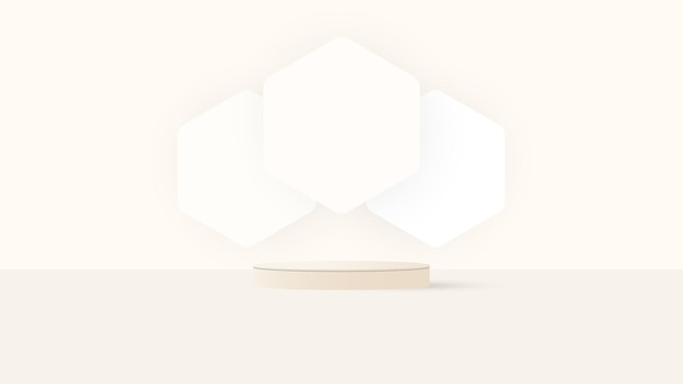 Abstract 3d white and yellow steps cylinder pedestal podium with pastel yellow minimal wall scene