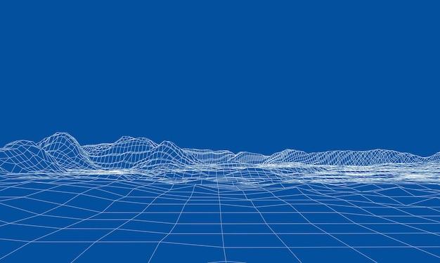 抽象的な3dワイヤーフレームの風景。ブループリントスタイル。 3dモデルからのレンダリング。地質地形