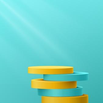추상 3d 노란색 및 파란색 녹색 실린더 받침대 연단이 그림자와 겹칩니다.