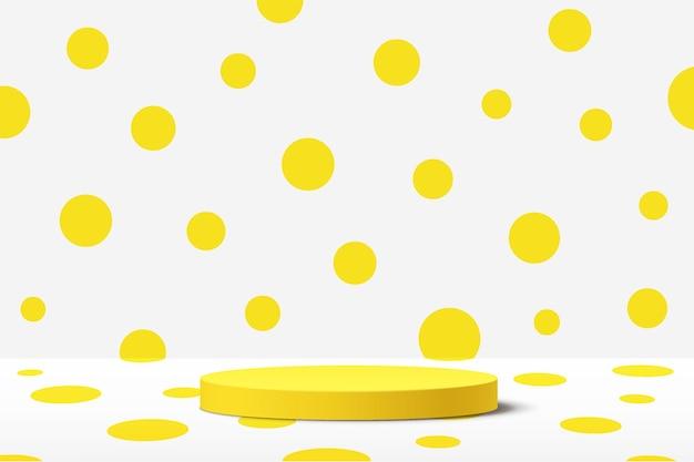 白い部屋のパステルイエローの水玉模様の壁のシーンと抽象的な3d黄色のシリンダー台座表彰台