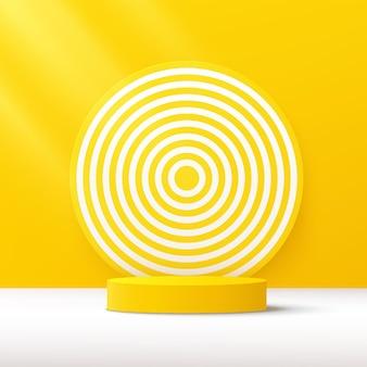 黄色の壁のシーンと白いらせん状の背景を持つ抽象的な3d黄色のシリンダー台座表彰台